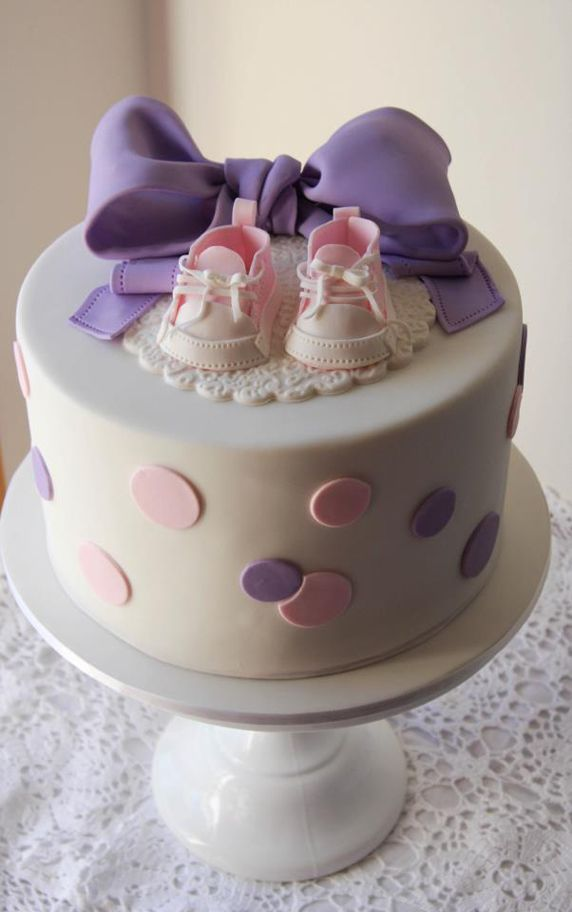 Beautiful Cake Pictures Pink Amp Purple Polka Dotted Baby