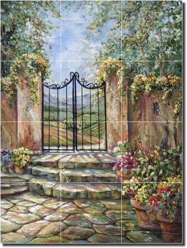 Tuscan Valley View by Ginger Cook - Tuscan Courtyard Ceramic Tile Mural 24