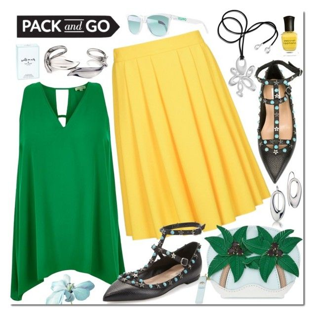 """""""Pack and Go: Rio"""" by revekarose ❤ liked on Polyvore featuring River Island, 8, Valentino, Kate Spade, Deborah Lippmann, Oakley, Silver, jewelry, rio and Packandgo"""