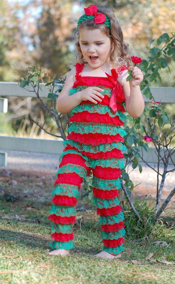 0b53a8381ee5 Xmas Baby Girl Lace Posh Petti Ruffle Rompers by BabyIsland