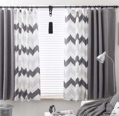 Gray Chevron Funky Extra Wide Custom Window Curtains