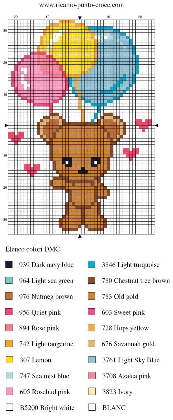 disegno punto croce orsetto 006