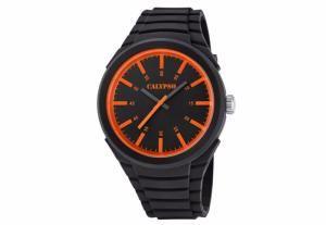 2fc07349b23d1 Montre Homme Calypso K5725/1 Bracelet Noir Façon Silicone. Cadran Orange Montre  Pas Cher