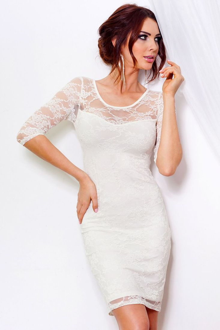 SAF White Lace Glistening Thread Dress.