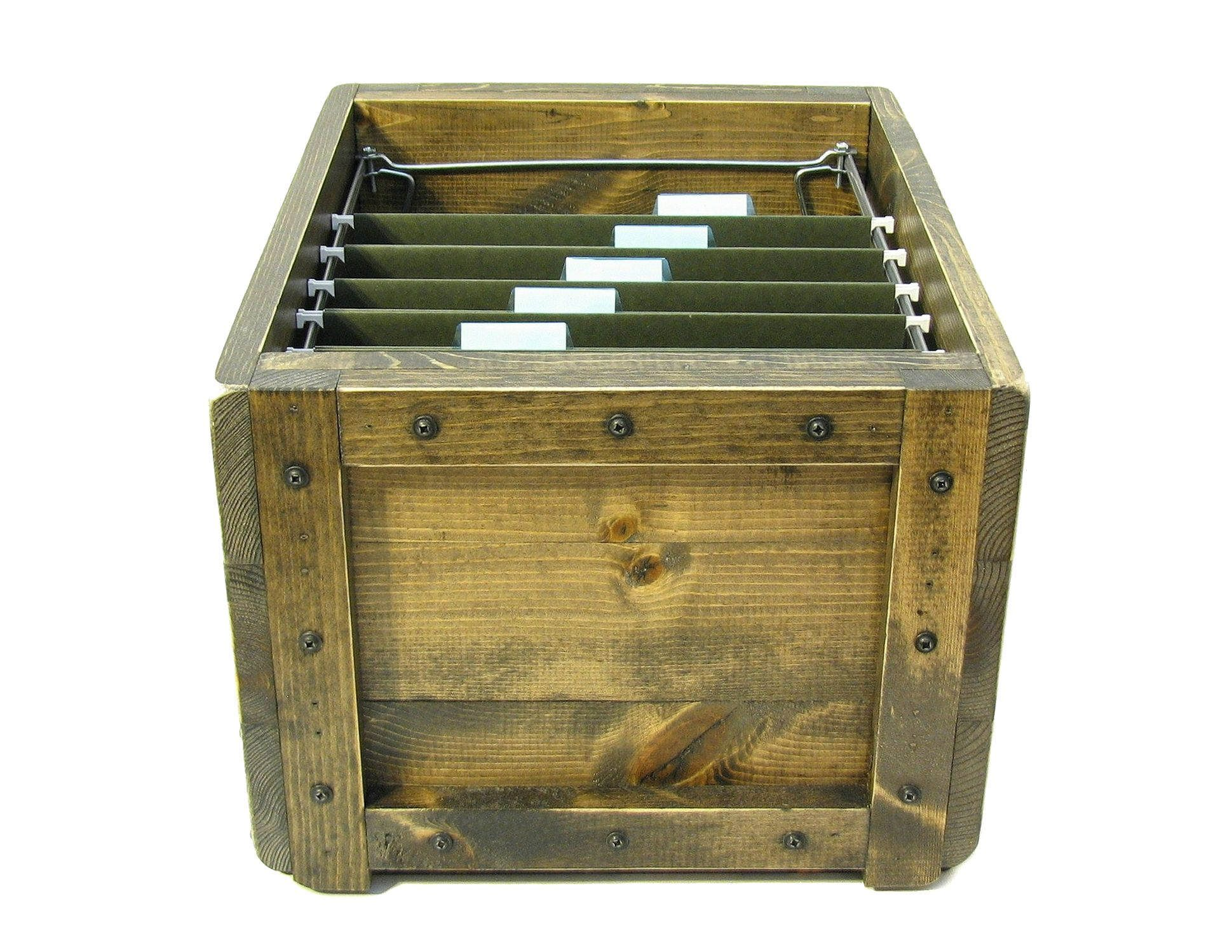 Wooden box for files, file holder, file organizer, hanging