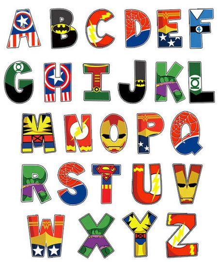 ten themed alphabet prints super h ros h ros et deco chambre garcon. Black Bedroom Furniture Sets. Home Design Ideas