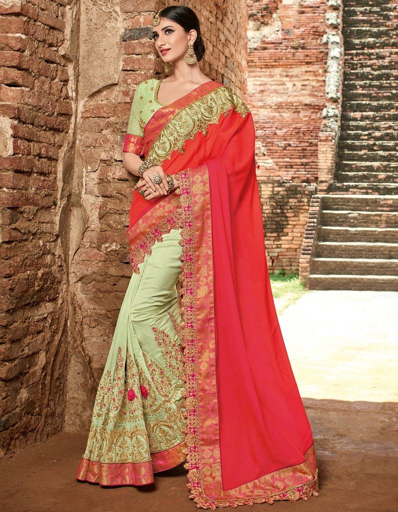 5423d35828d99 Pink Green Embroidered Designer Satin   Silk Saree with Unstitched Blouse   designer  embroidered