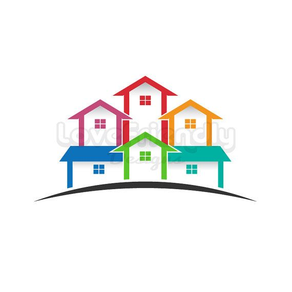 Real estate logo colored houses clip art concept for a for Clipart estate