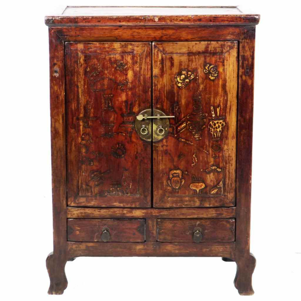 Antique Chinese 2 Door Gansu Cabinet 32 Wide 42 Tall Brown Lacquer Antiques Asian Antiques Gansu