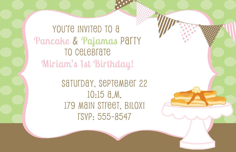 Pancake and Pajamas Birthday Party Invitations | Mia\'s 1st bday ...