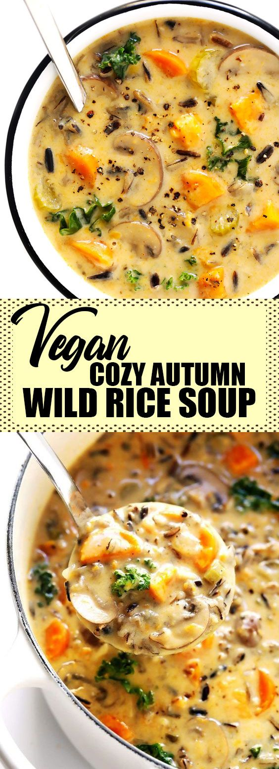 Vegan Cozy Autumn Wild Rice Soup | This Cozy Autumn Wild Rice Soup is full of hearty seasonal vegetables and wild rice (plus chicken, if you would like), it's wonderfully creamy and comforting, and easy to make in the Instant Pot, Crock-Pot or on the stovetop. #vegan #soup #healthysoup | makerecipes.club #seasonedricerecipes