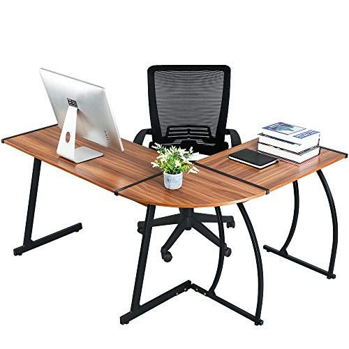 GreenForest L Shaped Corner Desk for Home Office Computer PC Table Workstation 3-Piece for Gaming and Studying,Bright...