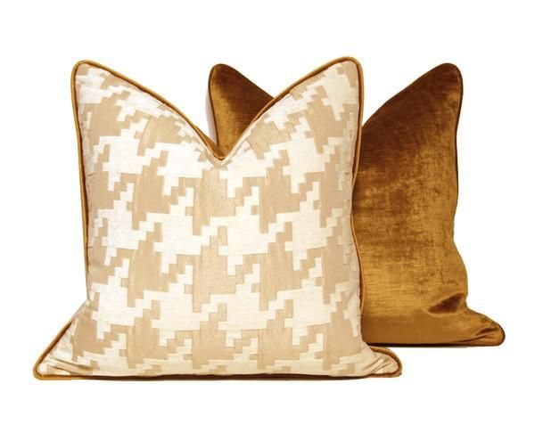 Pillows Houndstooth Throw Pillow With Gold Velvet