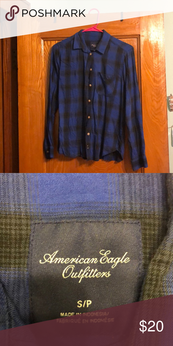 a8c3a9b0608 american eagle flannel shirt blue/black checkered print american eagle  button down top super soft barely worn size small American Eagle Outfitters  Tops ...