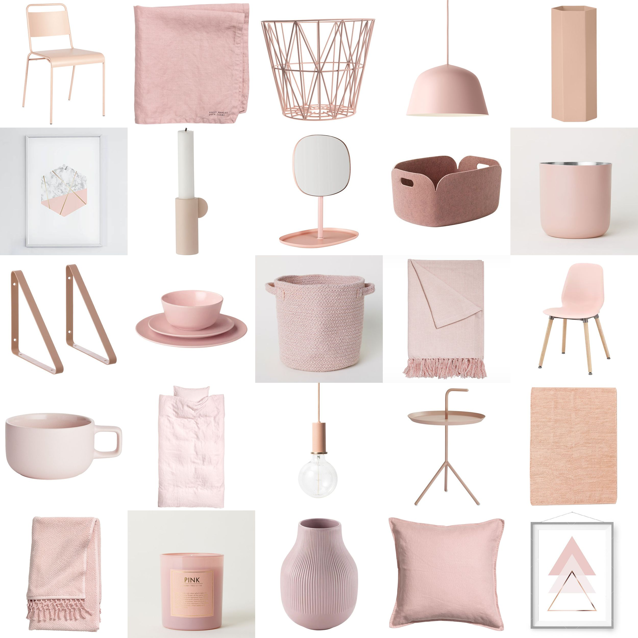 Scandinavian Blush Pink Decor Happy Grey Lucky Pink Room Decor