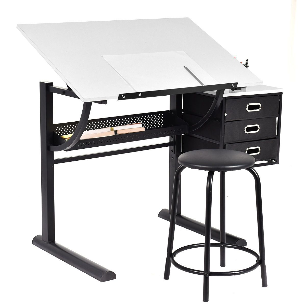 Exceptional Drafting Table Art U0026 Craft Drawing Desk Art Hobby Folding Adjustable W/  Stool