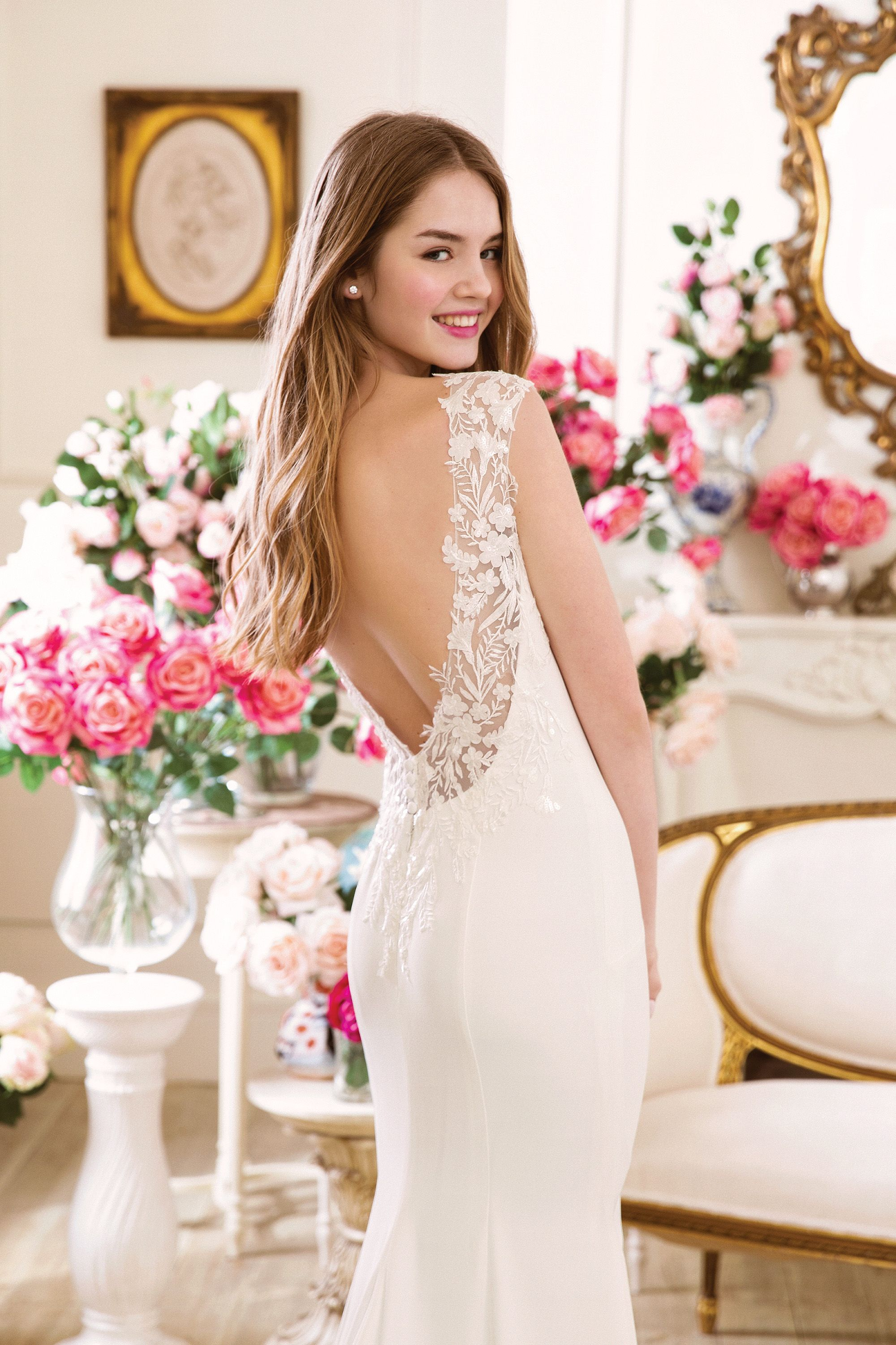Style 11057 Crepe Fit and Flare Gown with Beaded