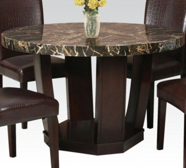Acme Furniture Adolph Round Dining Table With Black Faux Marble