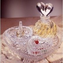 Crystal and Glass Heart Shape Vanity Set