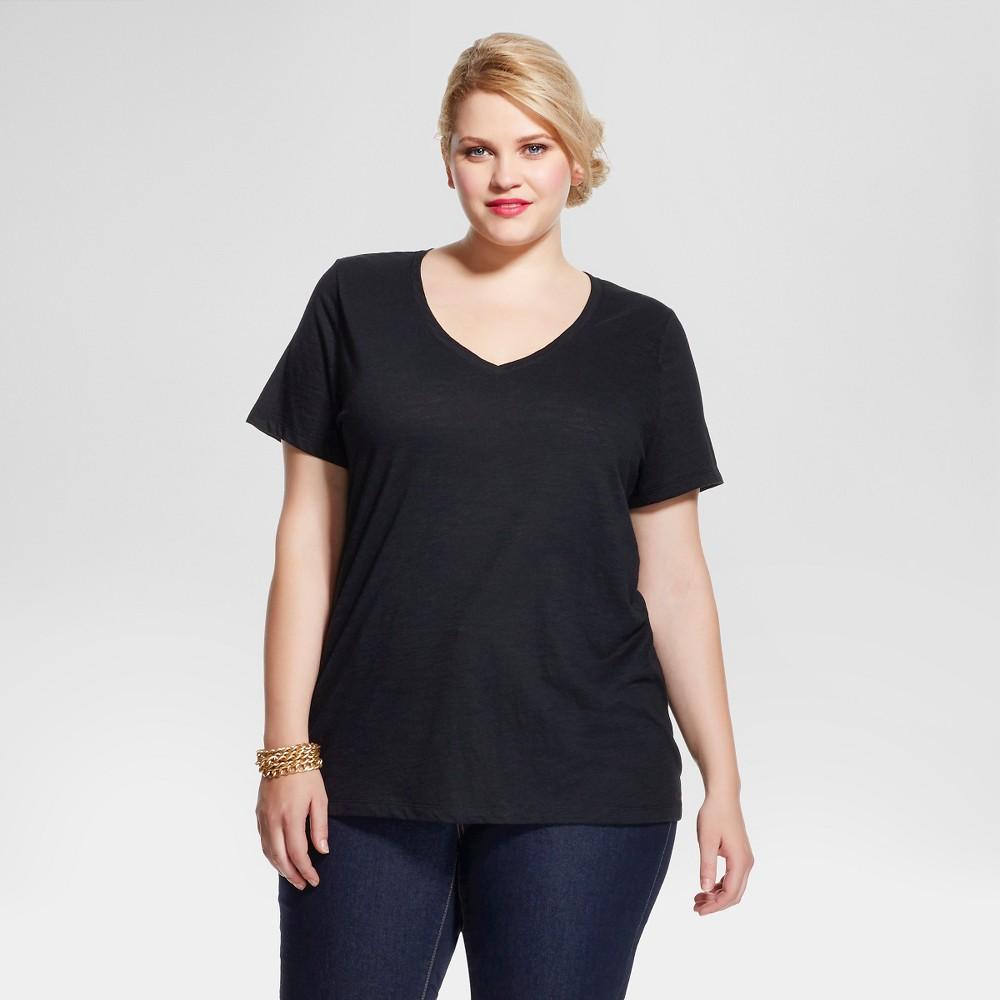 fae9cd69c40 Women s Plus Size Short Sleeve Tee Ebony 3X - Ava   Viv