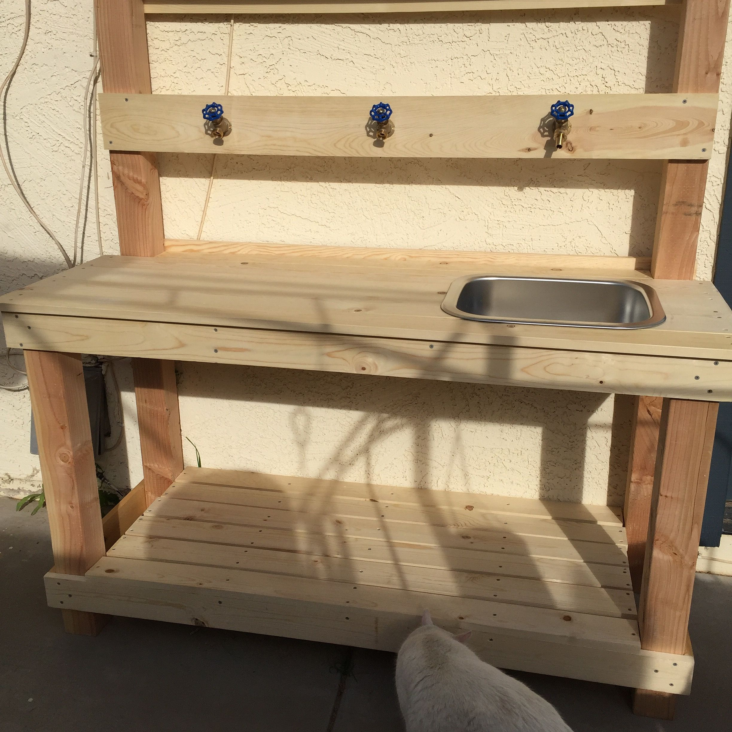 Potting Bench/Wash Bench made with 8x8, 8x8 and 8x8, an Ikea sink