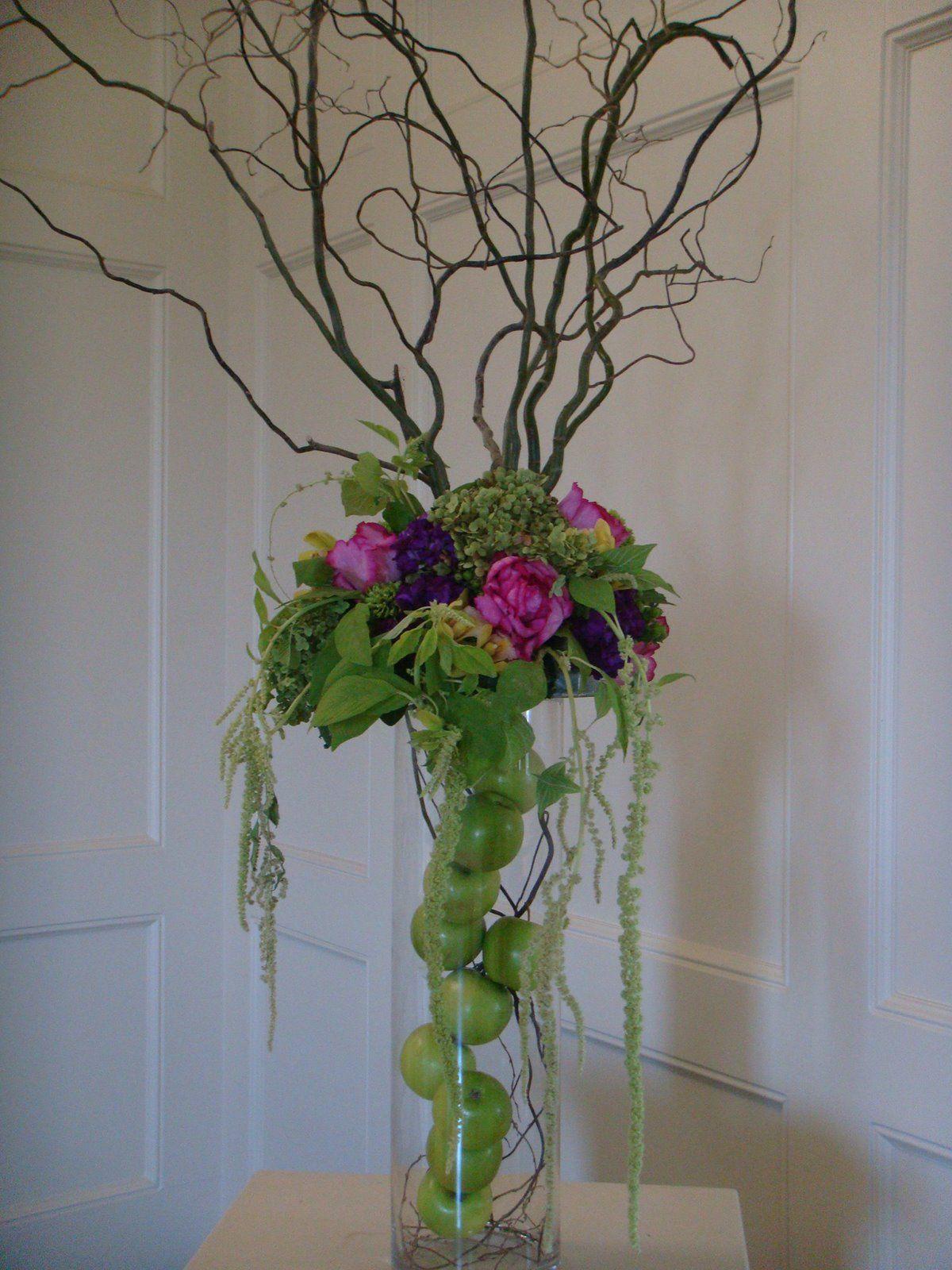 Green apple arrangement flower arrangements pinterest for Floral arrangements with branches