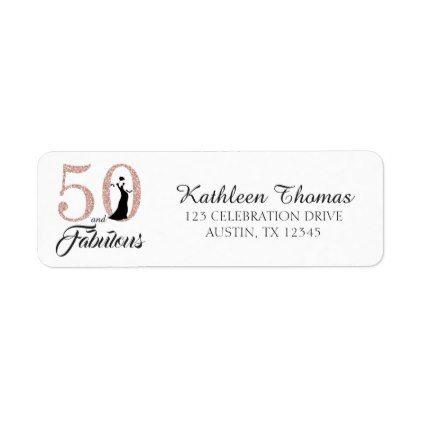50 And Fabulous Birthday Return Address Label