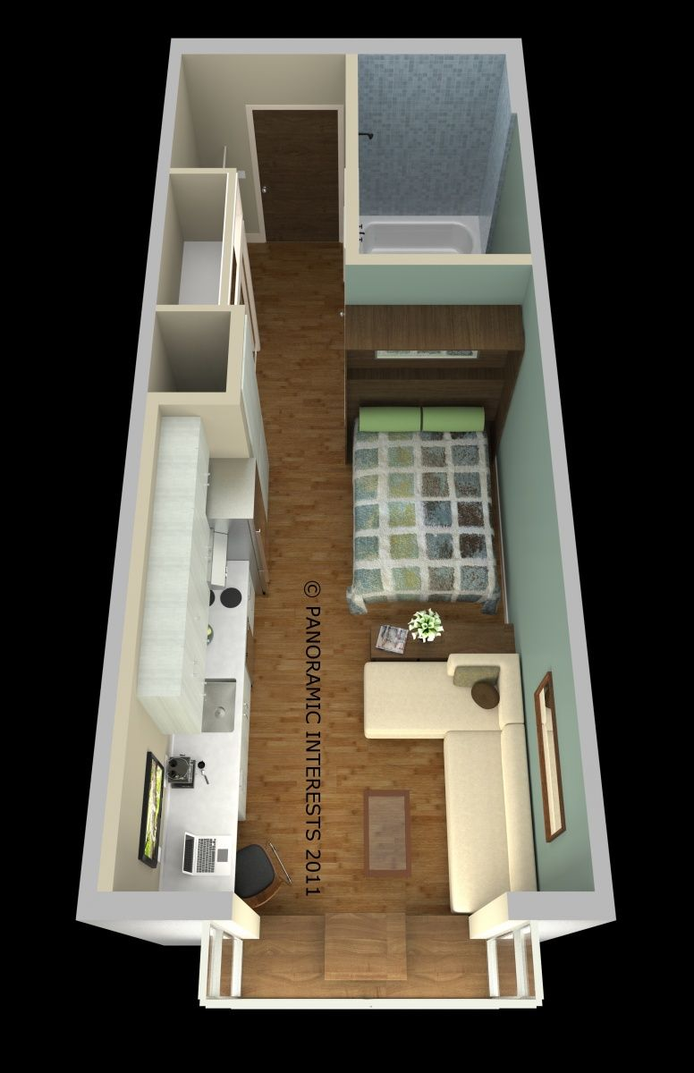 Projeto casa de 15m2 Cama lateral de encaixe na parede Moveis sob ...