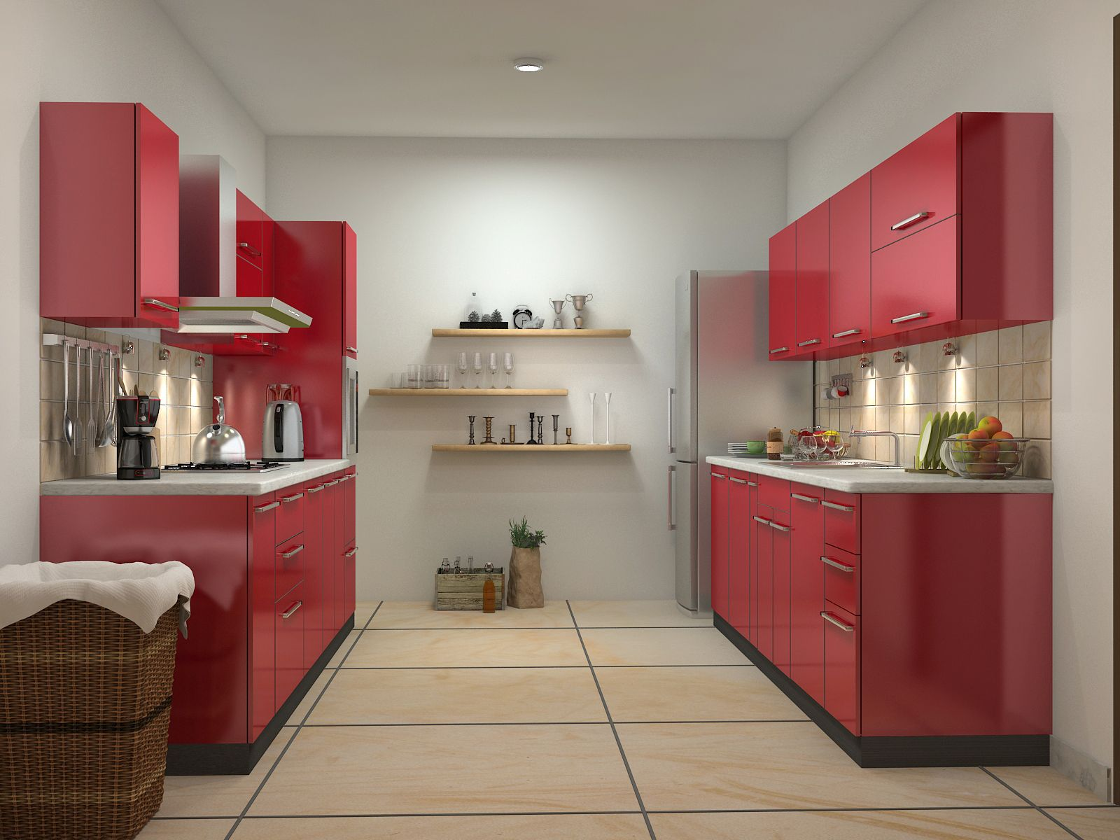 Modular Kitchen Design Red And White Red Kitchen Design Ideas | Parallel Shaped Modular Kitchen