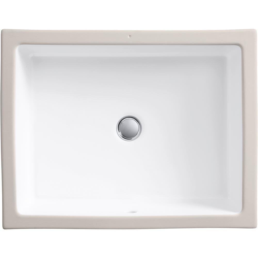 Kohler Verticyl Vitreous China Undermount Bathroom Sink In White With Overflow Drain K 2882 0 Bathroom Sink Sink Kohler Bathroom Sink