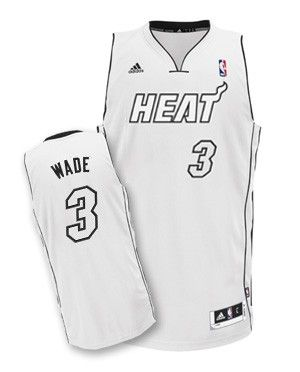 1f41996c29a adidas Miami HEAT Dwyane Wade Adult Swingman Jersey White and Black ...