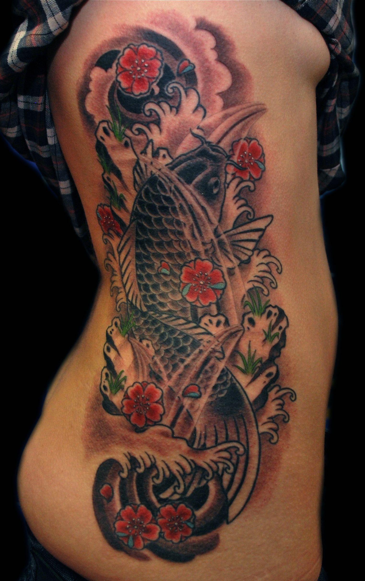 Tattoo Oriental Full Color Black Cherry Blossom Carpa Fish