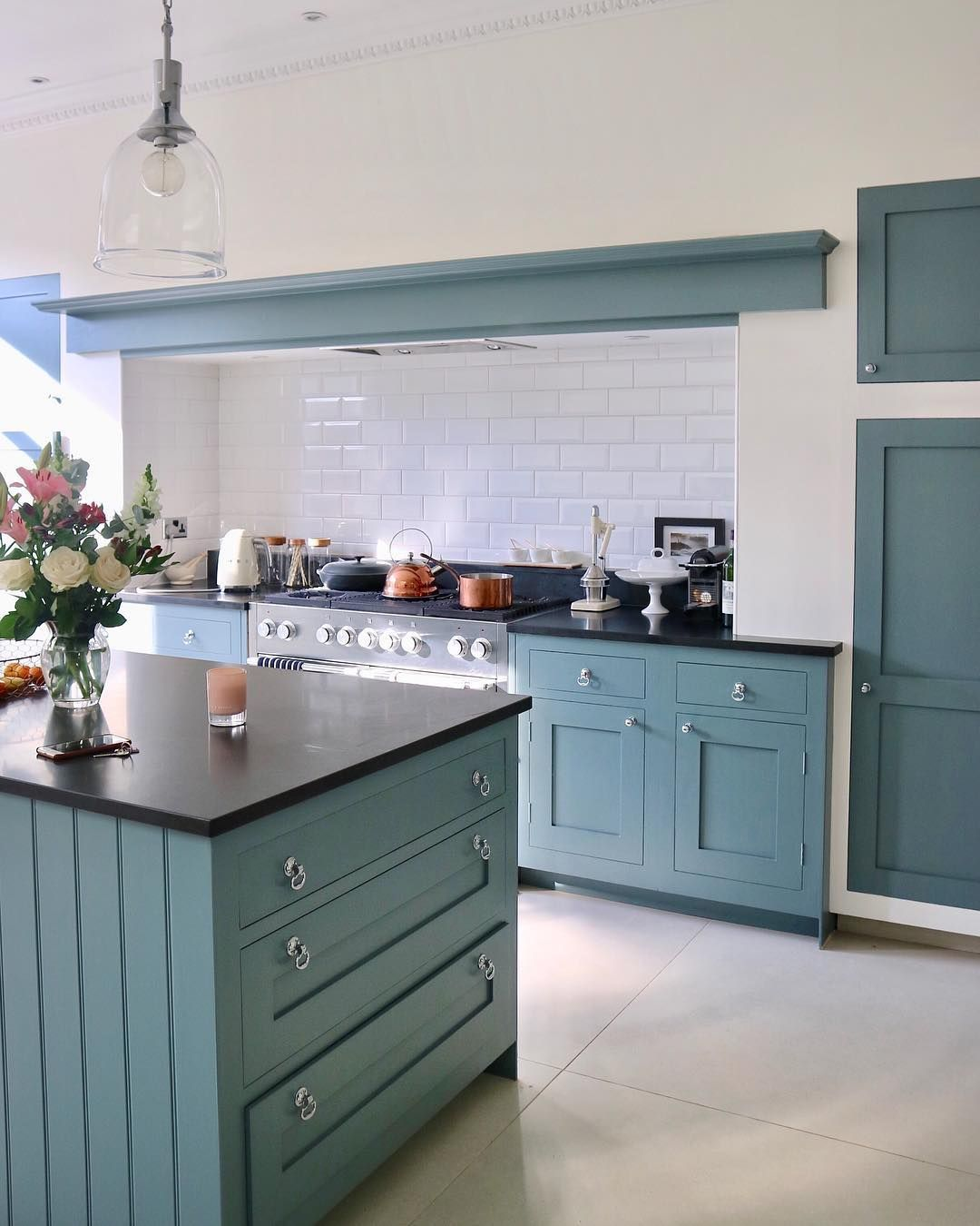 Our kitchen's repaint is nearly done. ✅. One job ticked off the long list. From pale cream to a blue grey called De Nimes, one of Farrow &… #bluegreykitchens