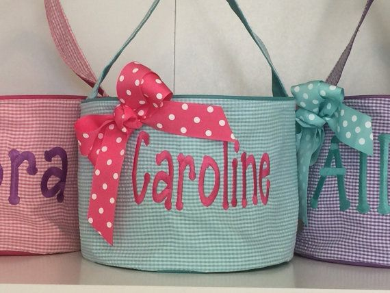 Personalized Easter baskets-chevron pattern by LiviLouSewShoppe