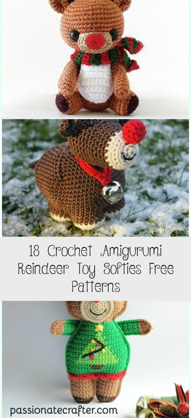Crochet Small Reindeer Softies Free Pattern - Crochet Amigurumi Deer Toy Softies...