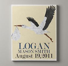 this would be so easy to make!  stork birth announcement