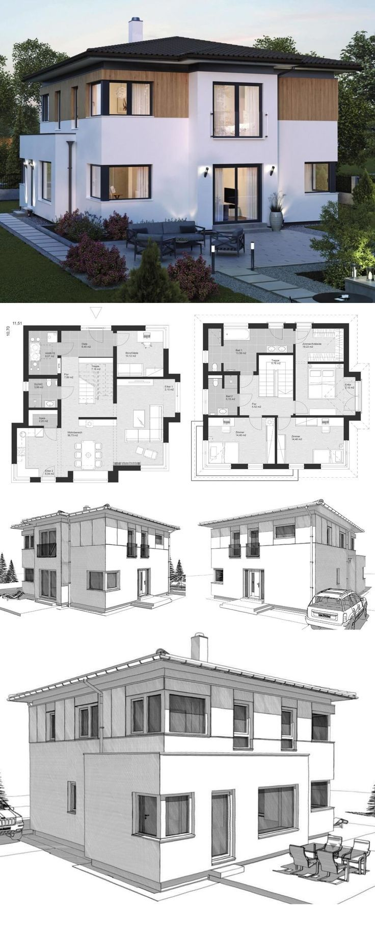 Moderne Landhaus Stadtvilla Grundriss mit Walmdach Architektur, Erker Anbau & Holz Fassade - Einfamilienhaus bauen Ideen Fertighaus ELK Haus 161 - HausbauDirekt.de - Wood Designs #holzbauen