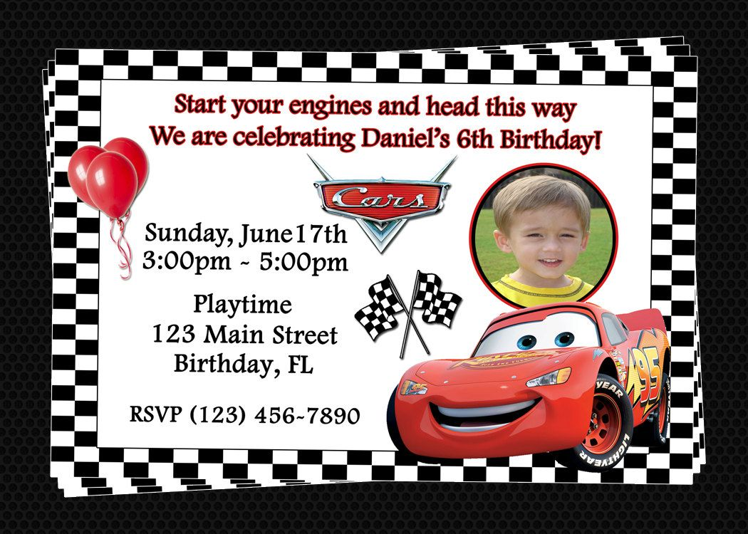Custom Cars Inspired Birthday Party Invitations - DIY Printable File ...