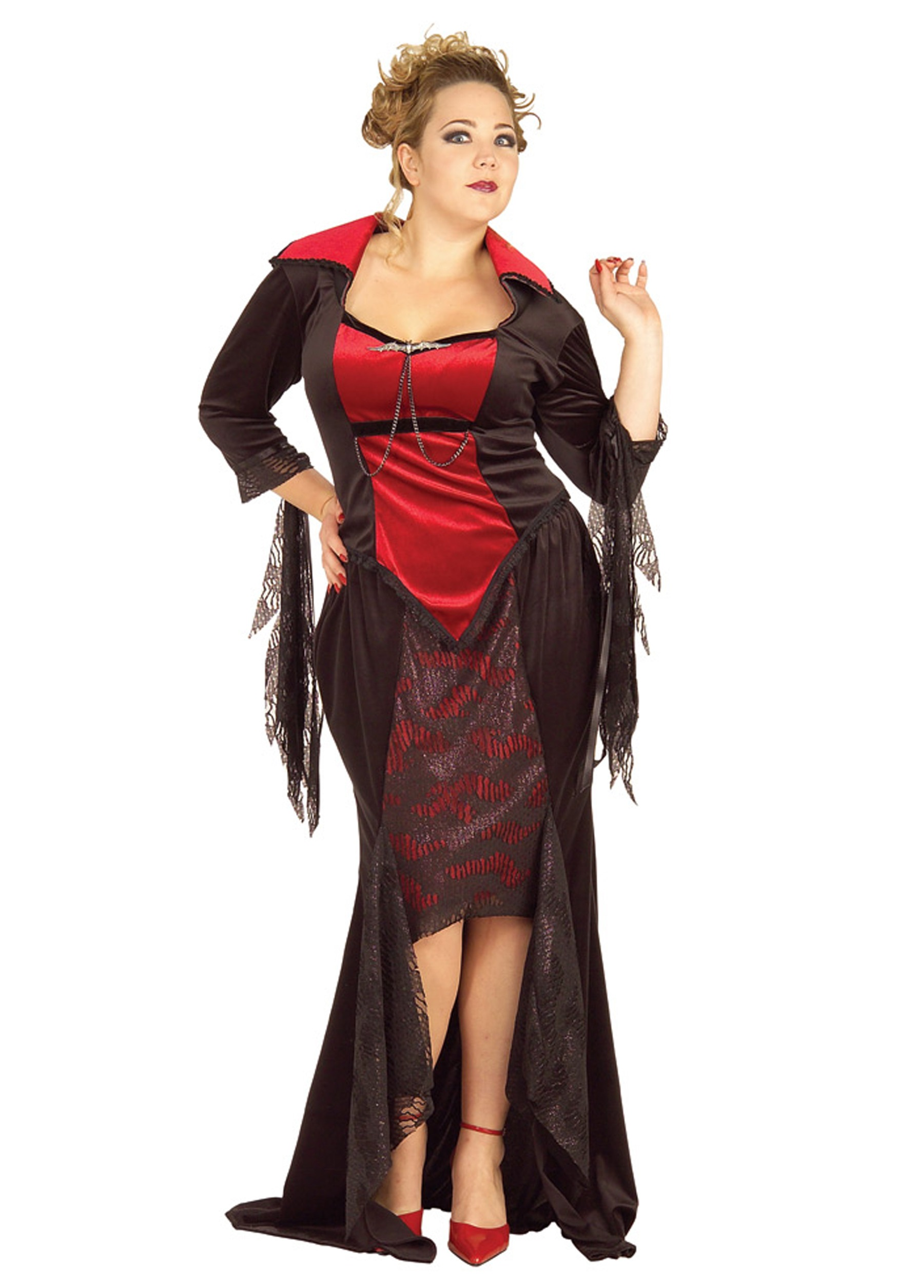 Plus Size Gothic Vampire Dress 100% Polyester Black and red ...