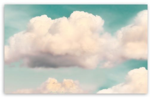 Download Light Green Sky and Fluffy Clouds HD Wallpaper