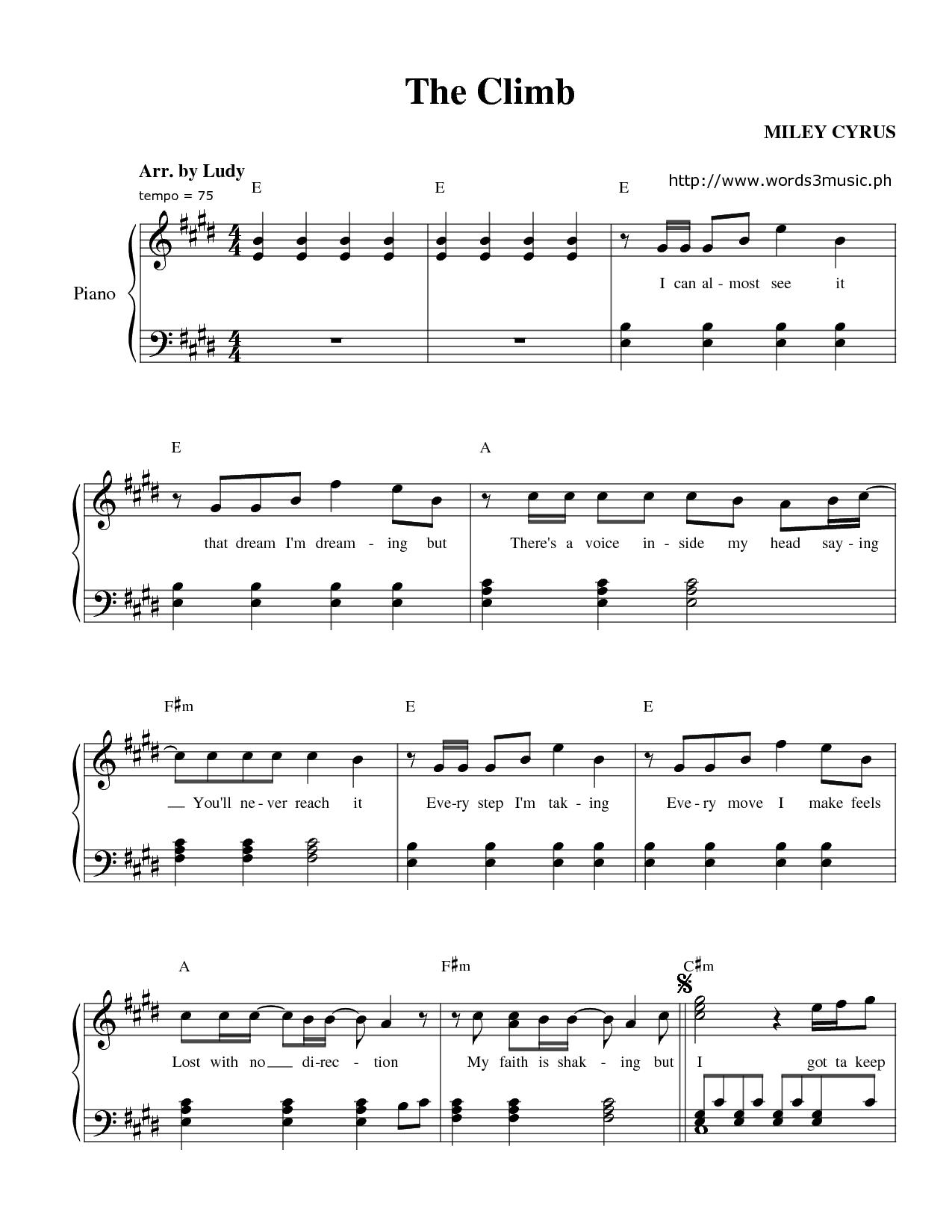 Miley Cyrus The Climb Sheet Music Piano Sheet Music Free Piano Sheet Music