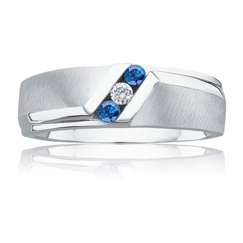 Mens Blue Sapphire Diamond Wedding Band