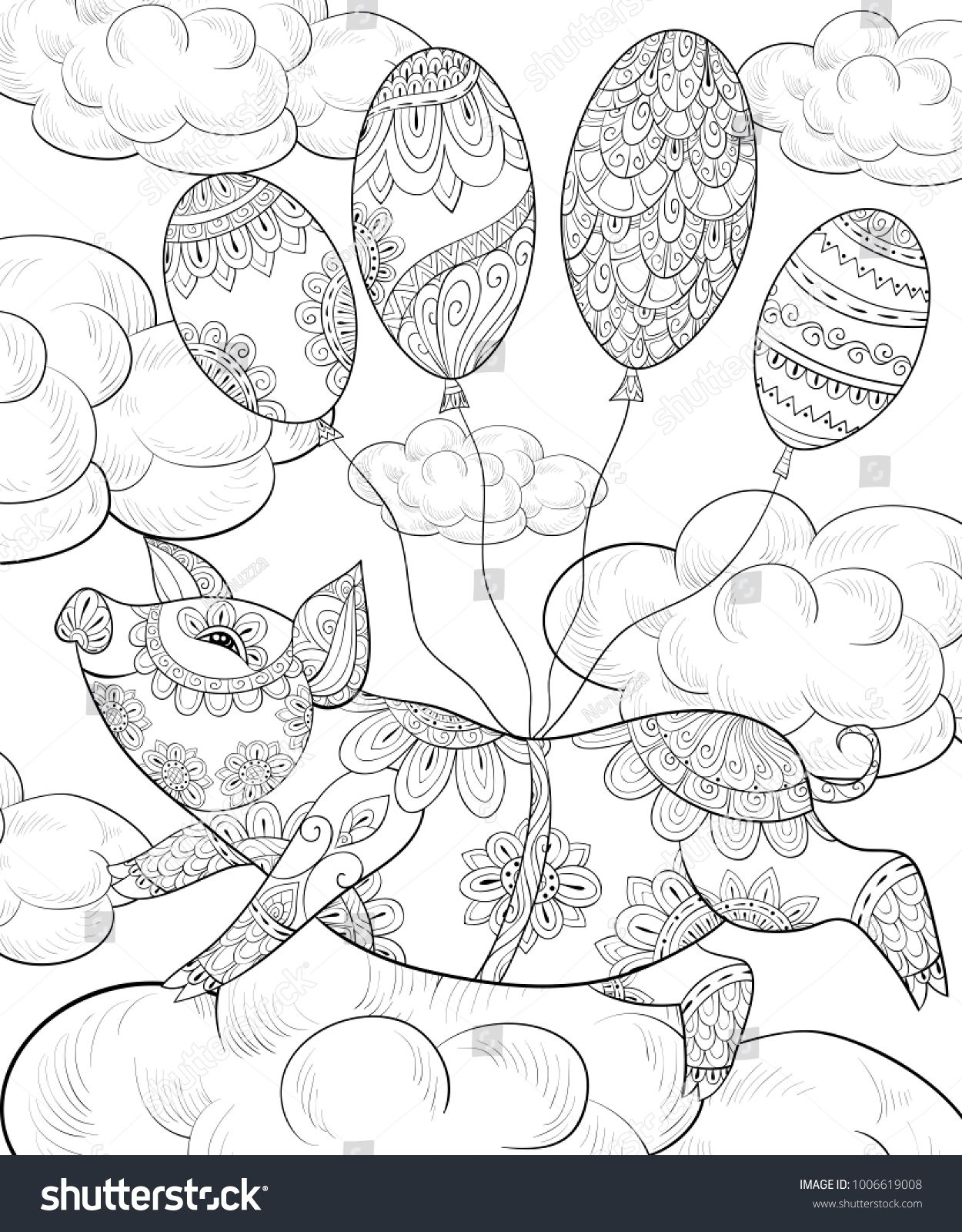 Adult coloring book,page a cute pig flying with balloons for ...