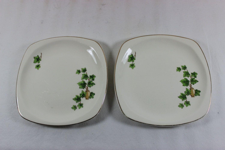 Two Vintage Paden City Pottery Ivy Minion 6 1/2 inch Square Bread Plates by & Two Vintage Paden City Pottery Ivy Minion 6 1/2 inch Square Bread ...