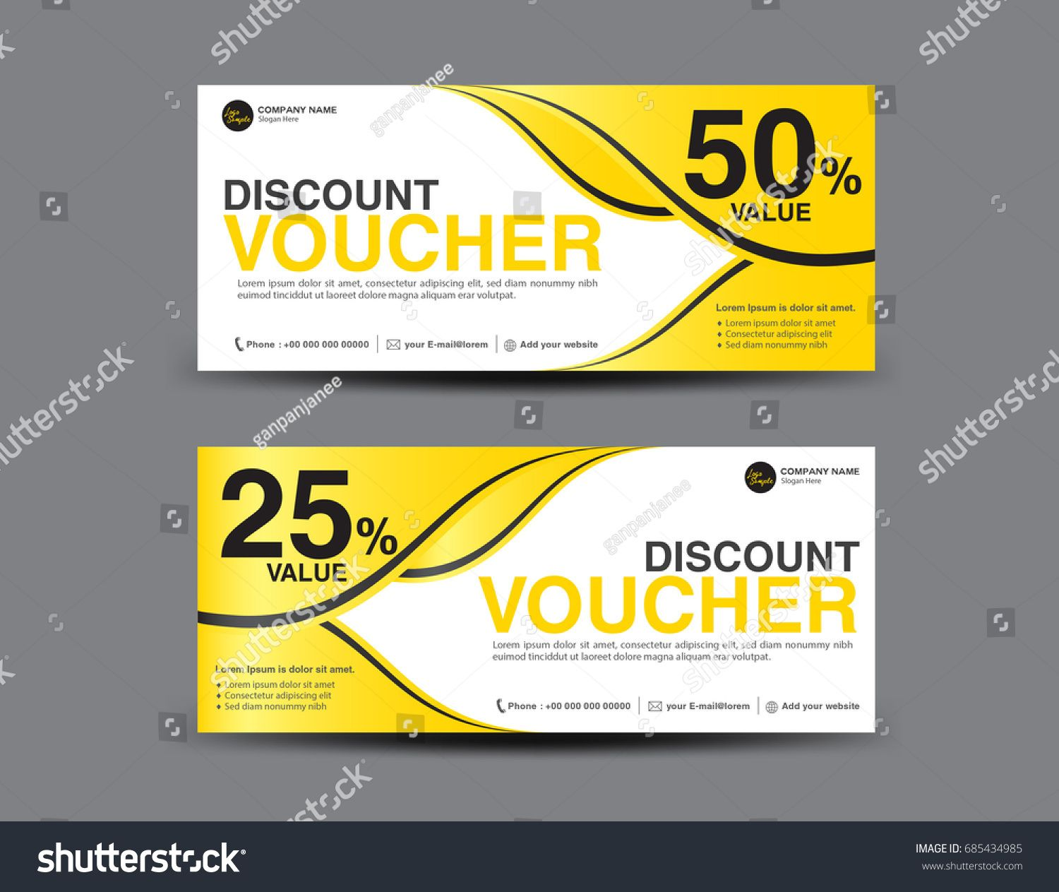 Yellow Gift Voucher template layout, business flyer design, Abstract ...