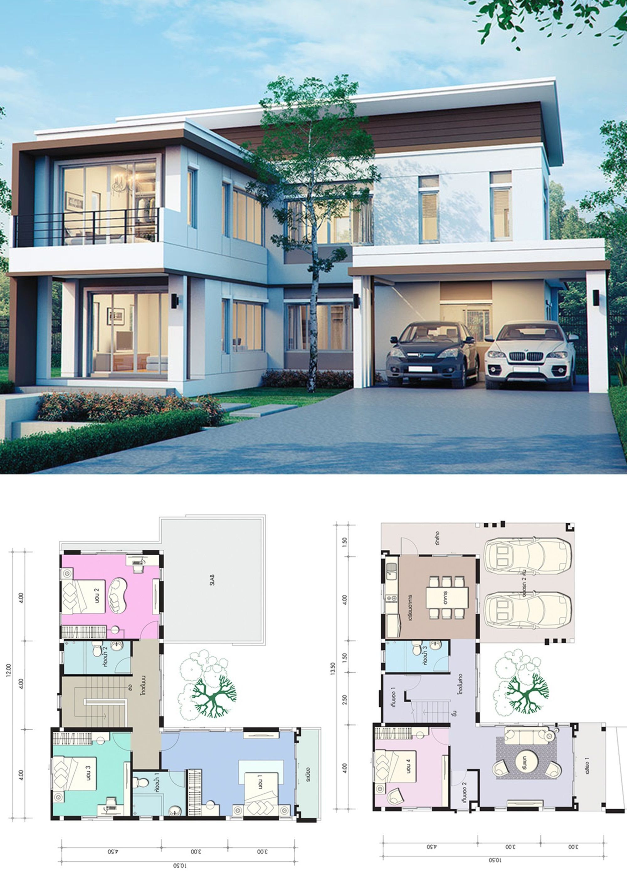 House Design Plan 13 5x10 5m With 4 Bedrooms In 2021 Craftsman House Designs Home Design Plans Smart Home Design
