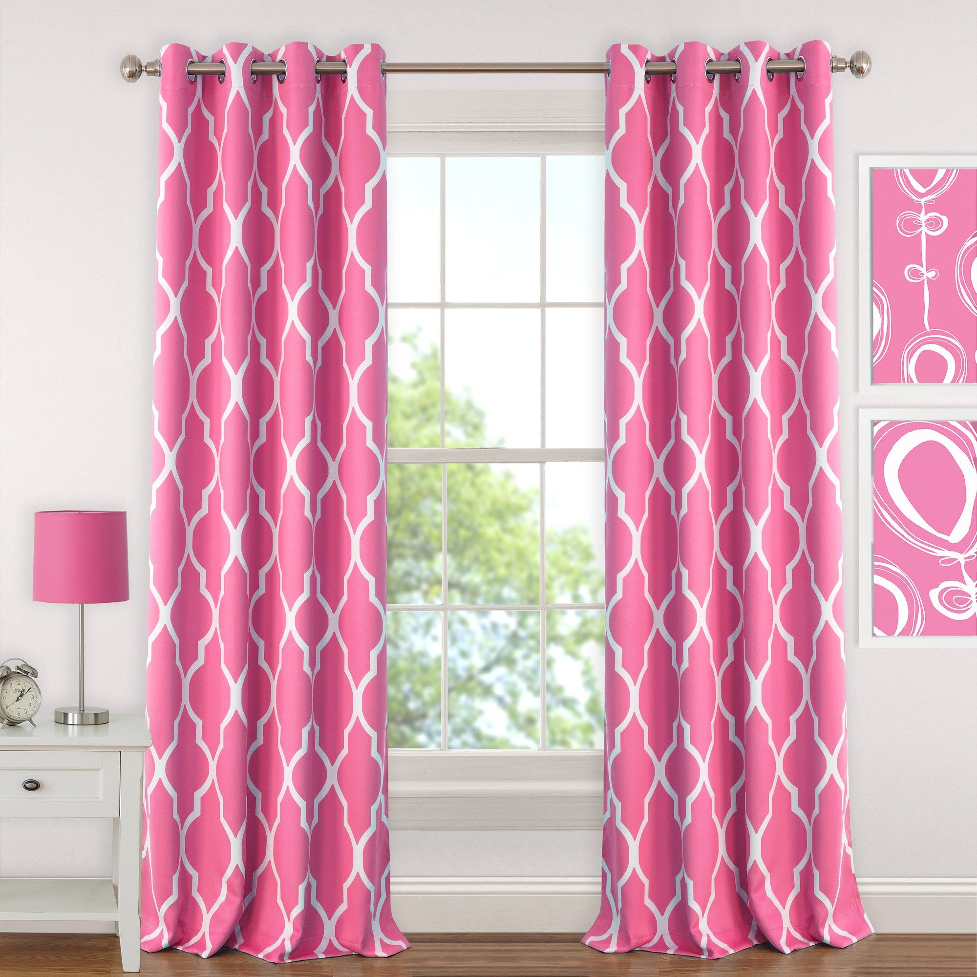 Emery Kids Blackout Window Curtain Panel 52 X 63 Hot Pink