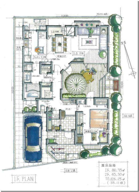 中庭型のプラン 1f 2020 画像あり 家の設計図 中庭のある家