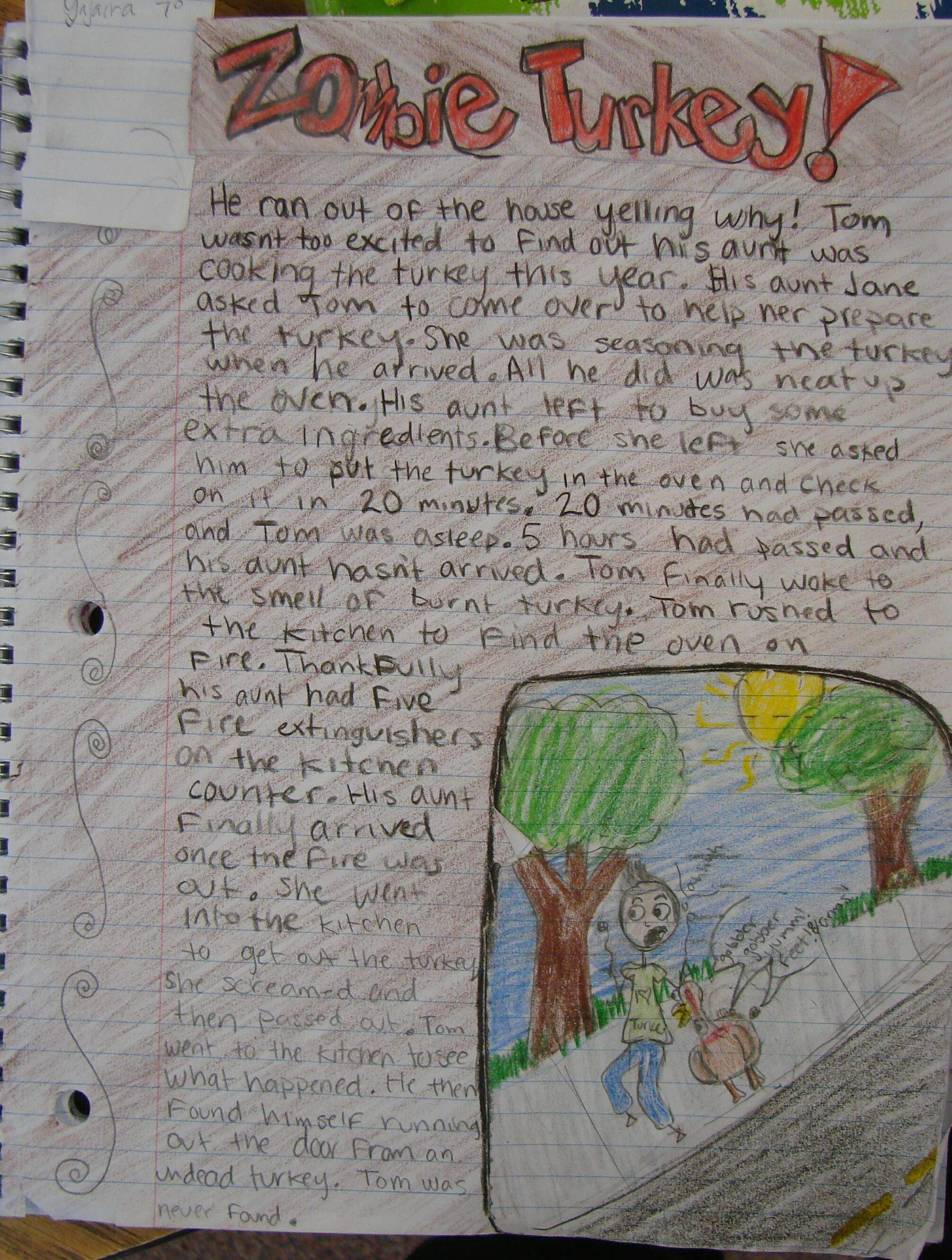 """Yajaira's """"Zombie Turkey"""" story totally stole a """"Mr. Stick of the Week"""" award!  These are the pages I know my students will read over and over again as they keep their writer's notebooks in the future.  Checkout Mr.Stick online at: http://corbettharrison.com/Mr_Stick.html"""