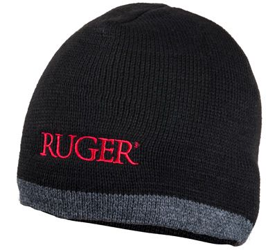 1a021e9f818 Black and Heather Knit Hat with red Ruger logo. One size fits most. Made in  the USA
